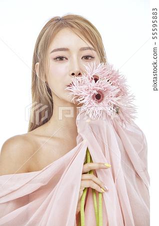 꽃,뷰티,젊은여자 55595883