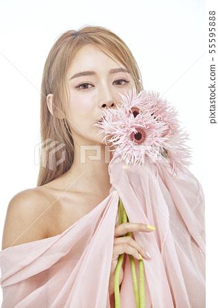 꽃,뷰티,젊은여자 55595888
