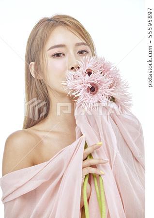 꽃,뷰티,젊은여자 55595897