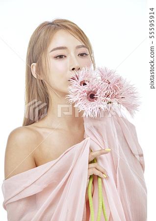 꽃,뷰티,젊은여자 55595914