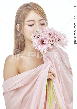 꽃,뷰티,젊은여자 55595918