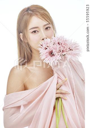 꽃,뷰티,젊은여자 55595923