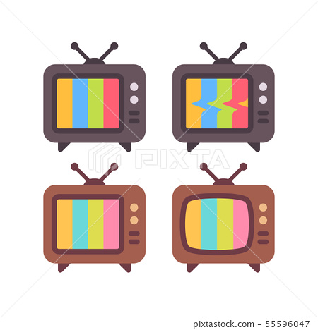 Set of old TV with error screens. Retro TV icons 55596047