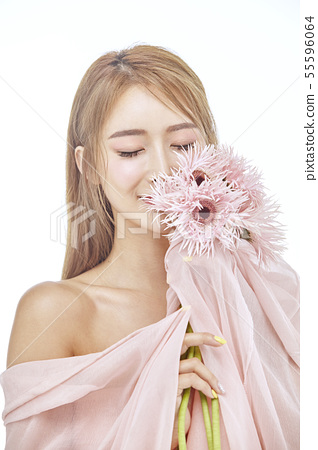 꽃,뷰티,젊은여자 55596064