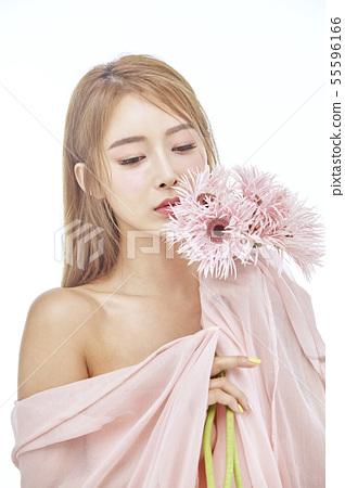 꽃,뷰티,젊은여자 55596166