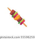 Barbecue on a wooden stick. Fast food flat icon 55596250