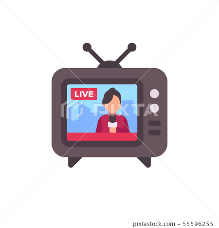 TV set with live news on screen flat icon 55596255