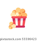 Red striped popcorn bucked flat vector icon 55596423