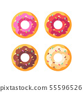 Set of colorful glazed donuts. Dessert flat icons 55596526
