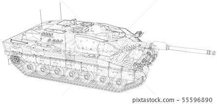 Military Tank - isolated over a white background 55596890