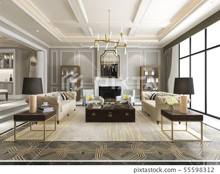 luxury and modern living room with bookshelf 55598312