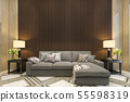 mock up wood decor in living room with sofa 55598319