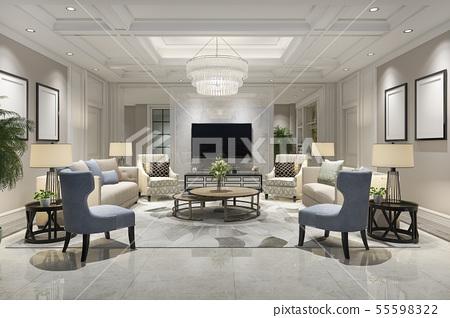 luxury and modern living room with bookshelf 55598322