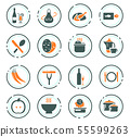 Food and kitchen icons set 55599263