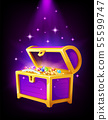 Open purple chest with golden coins and jewelry inside 55599747
