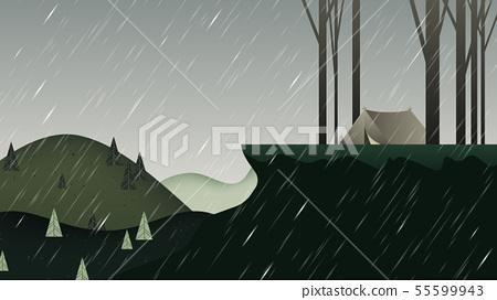 Beautiful rainy scenery landscape, camping tent  55599943