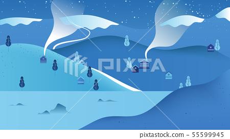 Beautiful winter scenery landscape, small village 55599945
