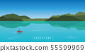 lonely canoeing adventure with red boat on beautiful turquoise lake 55599969