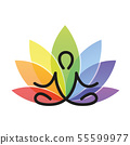 meditation yoga outline with colorful lotus flower 55599977