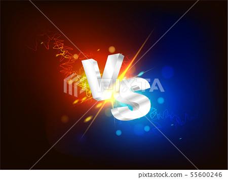 3D Versus VS on dark background special effect. 55600246