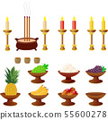A ceremonial incense candlestick. An incandescent candle.有 三 鳳 tea cup with water fruit products such as 有 鳳, 葡萄, 饅, 芒果, 香蕉 55600278