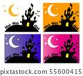Halloween castle bat moon star night night sky set 55600415