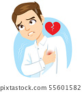 Man with hand on chest suffering heart stroke pain 55601582