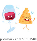 Cute wine glass and cheese slice food characters 55601588
