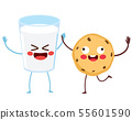 Cute milk glass and chocolate chip cookie friends 55601590