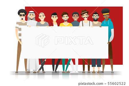 Group of multi ethnic men holding empty board 55602522