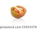 Greenish red tomato isolated on white 55603478