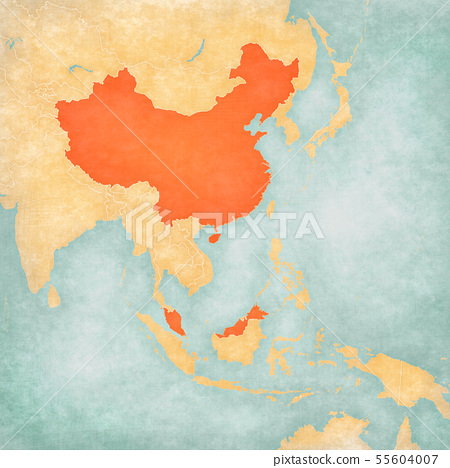 malaysia and china map Map Of East Asia China And Malaysia Stock Illustration 55604007 Pixta malaysia and china map