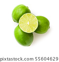 Halved green lime. 55604629