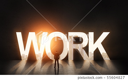 Man open new work abilities in big city in front of black wall 55604827