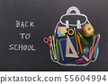 Chalk Backpack with stationery on blackboard background 55604994