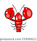Red crayfish. Template for printing on fabric. 55606621