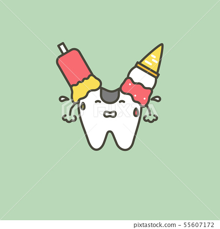 ice cream on teeth, caries or decay tooth concept 55607172