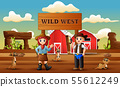 Cowboy wild west cartoon with meerkats in the farm 55612249