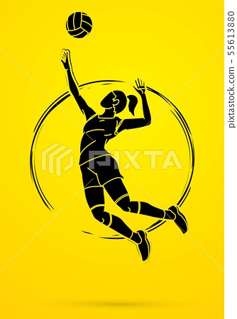 Woman volleyball player action cartoon graphic   55613880