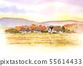 사 토야마의 풍경 가을 수채화 55614433