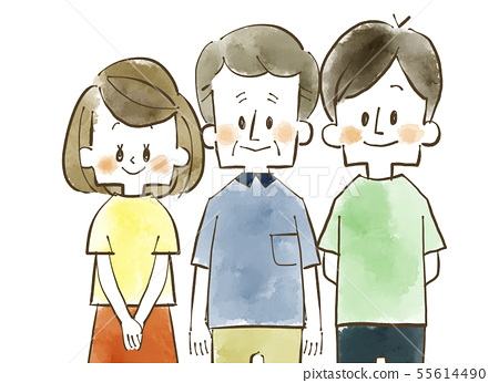 Family of three-smile-watercolor 55614490