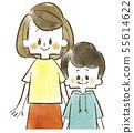 親子 - 母親 - 孩子 - 母親和兒子 - 水彩畫 55614622