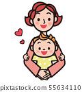 妈妈抱着一个婴儿 55634110