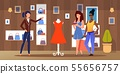 Diverse Female Friends Shopping at Clothing Store 55656757