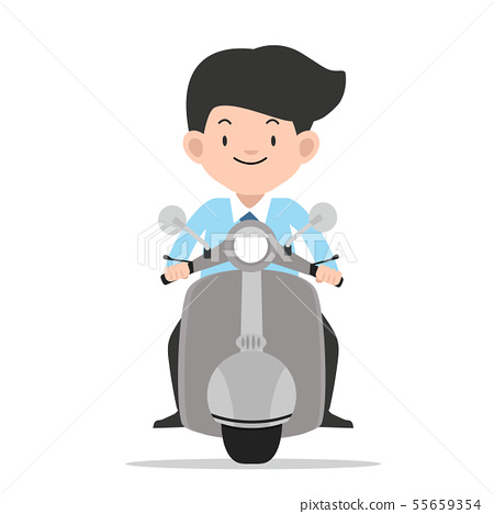 businessman driving front view motorbike vector 55659354