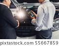 Two men Asian mechanic with boss manager service 55667859