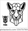 Abstract linear polygonal head of a Puma. Vector. 55670760