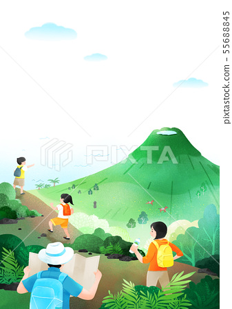 Summer festival, Summer outdoor scene with hand drawn painting 003 55688845