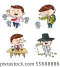 Set of expressions emotions, funny cartoon style illustration 001 55688886