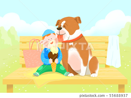 Cute little child with puppy illustration 006 55688937